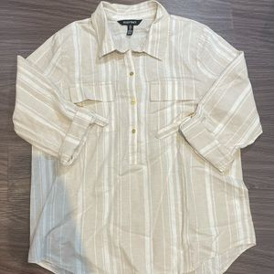Large Nude & White Button Down Shirt Blouse